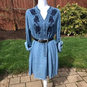 Blue chambray embroidered shift dress